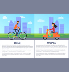 Bike versus moped comparing vector