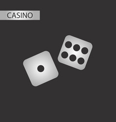 black and white style dice lucky vector image