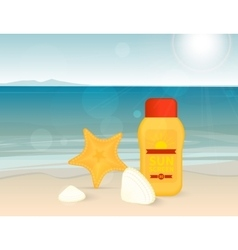Bright banner with sunscreen lotion on the beach vector