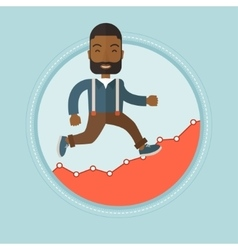 Businessman running on profit chart vector