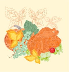 Celebratory food christmas thanksgiving vintage vector image vector image