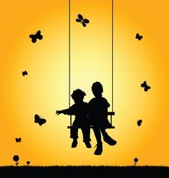 Children on swing silhouette vector