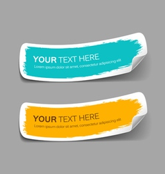 Colorful label paper brush stroke vector image