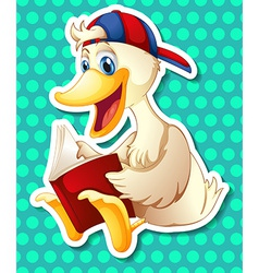 Duck and book vector image vector image