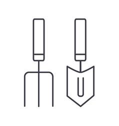 forks mini trowel line icon sig vector image vector image