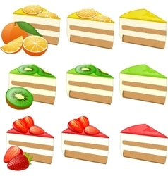 Fruit cakes set vector