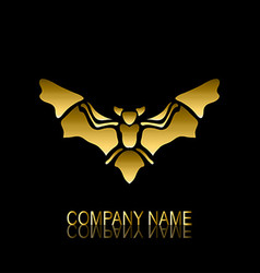 golden bat symbol vector image vector image