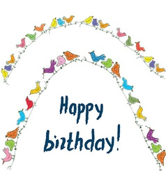 Happy birthday birds card with unusual funny vector image