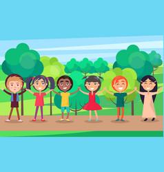 Happy children holding hands in summer park vector