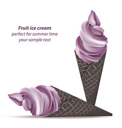 Ice cream cones lavender or berry flavours vector