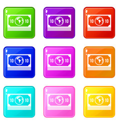 Money stack icons 9 set vector