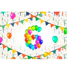 Number six made up from colorful balloons on white vector