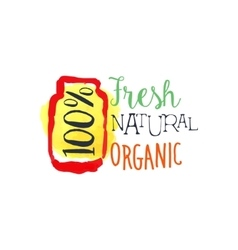 Organic 100 percent fresh juice promo sign vector