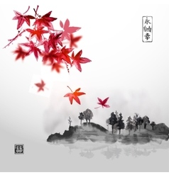 Red japanese maple and island with trees vector
