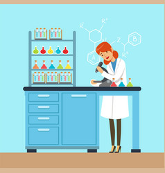 scientist female looking through microscope vector image vector image