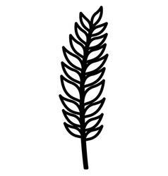 stem with leaves on black silhouette vector image