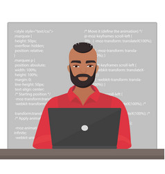 stylish black man programmer sitting at the vector image vector image