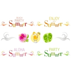 Summer bunners with text swirls and colorful vector