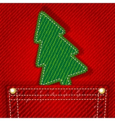 Textile christmas tree in jeans pocket vector image