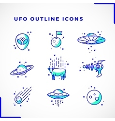 Ufo or alien icons set outline style vector