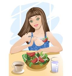 Woman Eating Salad Cartoon vector image vector image