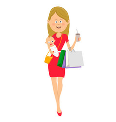 Young mother walking with baby and shopping bags vector