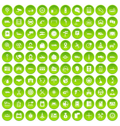 100 auto service center icons set green vector