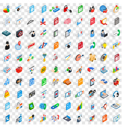 100 data icons set isometric 3d style vector