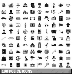 100 police icons set simple style vector