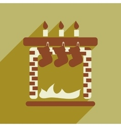 Flat icon with long shadow christmas fireplace vector