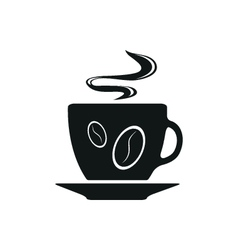 Single black coffee cup or mug icon vector