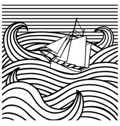 Abstract ship at sea vector