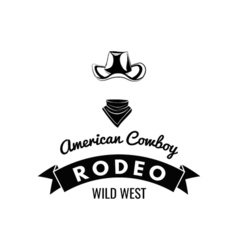 Cowboy hat Wild West Label Rodeo Competition Badge vector image