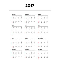Calendar 2017 for a year on white background vector