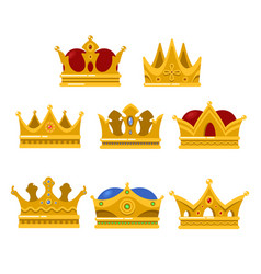 Set of king or queen golden crown icon vector
