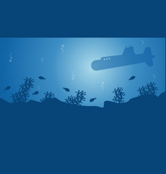 Landscape of submarine and fish silhouettes vector