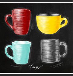 set cups chalk vector image