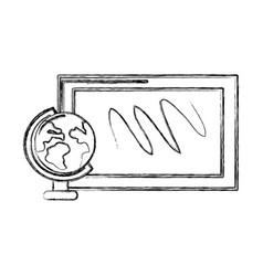 Contour school board with earth planet desk vector