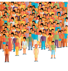 Flat of male community with a crowd of guys and vector
