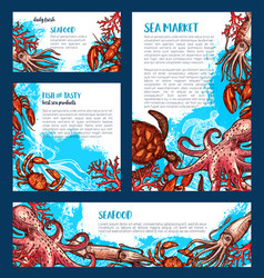 Posters or banners for fish seafood market vector
