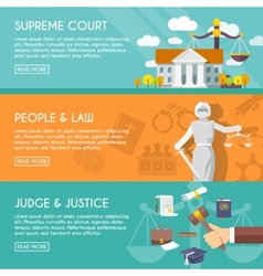 Law horizontal banners flat vector