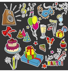 Colored sketch party objects hand-drawn vector image