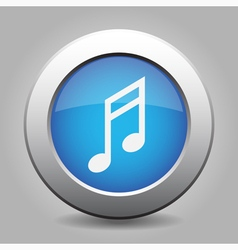 Blue metal button with musical note vector