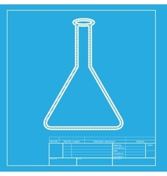 Conical flask sign white section of icon on vector