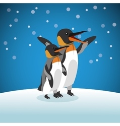 Pinguin icon snowing background graphic vector