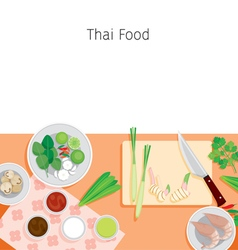 Ingredients of thai soup tom yum kung vector