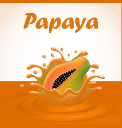 A splash of juice from a falling papaya and drops vector