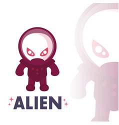 Alien in space suit in flat style over white vector