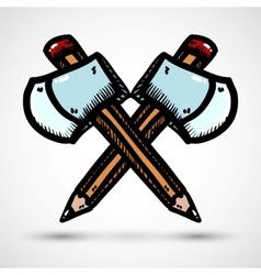 Axe with pencil cartoon vector image