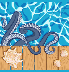 background with water shells and octopus vector image vector image